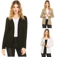 Women Casual V-Neck Long Sleeve Solid Front Open  Sexy Cardigan EH7E 01