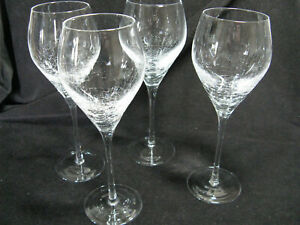 """4 Pier 1 Reflections Crackled 9 1/4"""" Wine Glasses"""