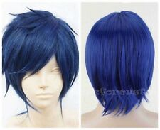 Cool Men/Women Unisex Anime Costume Short Cosplay Blue/Black Mixed Party Wig
