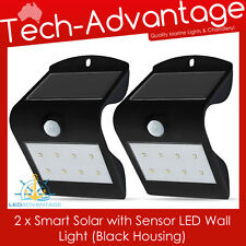 2 X BLACK SMART SOLAR & SENSOR LED WALL MOUNT SECURITY LIGHT - HOME/BOAT/CARAVAN