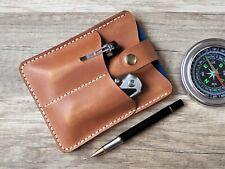 Burnt orange leather wallet edc pocket organizer edc pouch pocket knife case EDC
