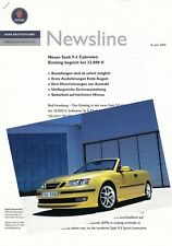 SAAB 93 9-3 CABRIO Cabriolet Vorstellung Preview Presseinformation 2003 J