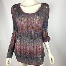 Ponsesa Purple Thin Knit Metallic Pullover Sweater Scoop Women Petite XL NWT