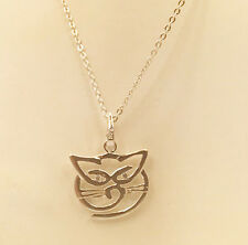 Cat Face Necklace Sterling Silver Pendant 18""