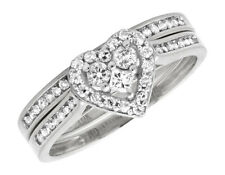 10k White Gold Round Diamond Heart Shaped Bridal Engagement Ring Set .52Ct  2mm