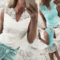 Fashion Women Solid Lace Sleeveless Patchwork V-Neck Shirt Sexy Ladies Vest Tops
