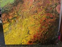 abstract original acrylic pour painting canvas fluid art painting 16X24