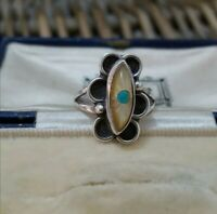 Vintage Sterling Silver Native American Ring, MOP, Turquoise, Size N US 6.75