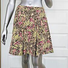Kenneth Cole Silk Blend Skirt Size 12 hazel green pink pleated flare short women