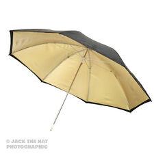 "33"" Pro Studio Flash Umbrella - Black / Gold Reflector Brolly. 80cm Diameter."