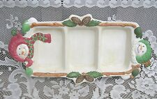 Old Vintage BICO China Large Christmas Party Platter Snowmen Serving Plate Tray