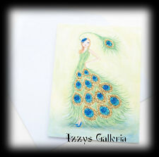 Papyrus Bella Pilar Glitter Peacock Fashion Girl Stylish Single Blank Note Card