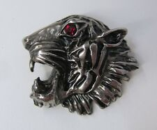 ARMANI PIN LARGE TIGER OR COUGAR HEAD SILVER METAL RED EYE IMPRESSIVE