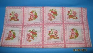 """VINTAGE! STRAWBERRY SHORTCAKE PINK SQUARES - RELEASED 1980 - APPROX. 17""""X22"""""""