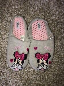 Women's Slippers, Size 6, Grey, Disney Minnie Mouse, Brand New