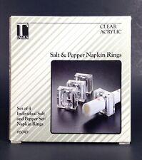 New listing Vtg Acrylic Salt & Pepper Napkin Rings Set Of 4 New Tamus Dining Decor Retro