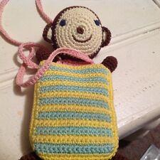 Único ganchillo hecho a mano Mono Chimpancé Amigurumis Muñeca Juguete teléfono móvil bolsa caso
