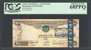 United Arab Emirates 200 Dirhams 2015/AH1436 P31c Uncirculated Graded 68