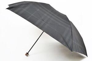 Burberry Folding Umbrella Black Shadow Check Plaid Wooden Handle Mens