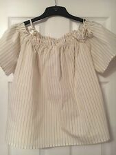 H&M Womens Off Shoulder Top Size 14  Stripe Holiiday Casual BNWOT