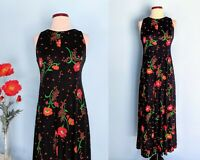 Vintage 70s Floral Poppy Print Boho Maxi Dress, 1970s Long Jersey Evening Dress
