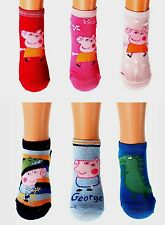 Peppa Pig George Girls Boys Toddlers Ankle 3x Socks Age 2 3 4 6 7 8 9 Free P&P