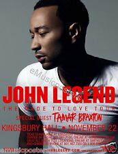 "JOHN LEGEND/TAMAR BRAXTON ""MADE TO LOVE TOUR"" 2013 SALT LAKE CITY CONCERT POSTER"