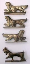 4 Art Deco French Plated Metal Animals, Lion / Dog Cutlery Knife Rests