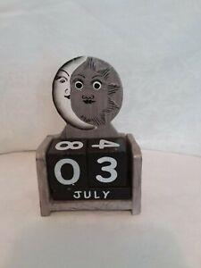 Wooden perpetual calendar, sun/moon motif, silver, white, handmade, decorative