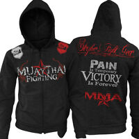 Muay Thai Pain Is Temporary Zip Up Hoodie Jumper UFC MMA W FREE Tapout Sicker