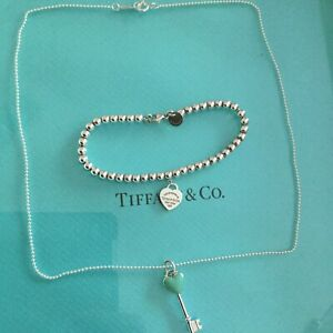 Tiffany & Co. Return To Heart Tag Set Necklace Bead Bracelet Authentic. New. Set