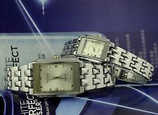 NEW Rosra 8005L Stainless Steel Womens Fashion Rectangle Quartz White Dial Watch