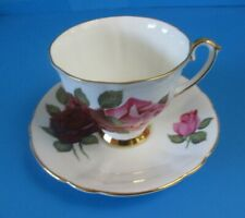 CUP & SAUCER DEEP RED & PINK ROSES SUPERB CONDITION NICE GOLD TRIM