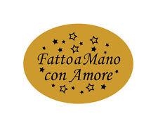 240 Etichette adesive bollini dorate FATTO A MANO CON AMORE - 22X16 MM
