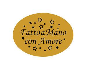 240 Etichette adesive dorate bollini FATTO A MANO CON AMORE - 22X16 MM