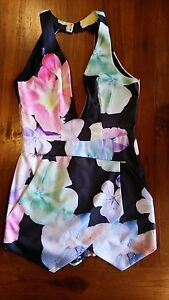 Paradis Co. Black flower print playsuit,  top lined sz8 preowned free post E24