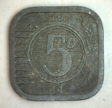 1941 Zinc Netherlands Dutch 5 Cent Coin XF Horse Heads and Sun Design