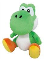 "REAL AUTHENTIC  Little Buddy Super Mario 1416 All Star   Green Yoshi 8"" Plush"
