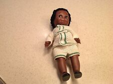 Vintage Handmade Black Americana Bisque Porcelain Doll Crochet Outfit Very Nice!