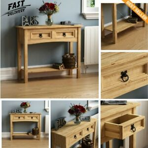 Console Table   Solid Wood Hall Side/End/Telephone Table with 2 Drawer