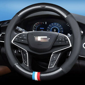 For Cadillac Car Steering Wheel Cover antislip Carbon Fiber Leather Size 15 inch
