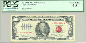 $100 Series 1966 STAR United States Note in comment-free PCGS Ex.Fine 40 slab