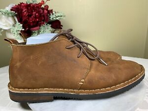 MERONA Oiled Brown Leather Ribbed sole Moc Ankle Chukka Boots Men's Size US 10 M