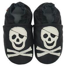 carozoo pirate black 4-5y soft sole leather kids slippers shoes
