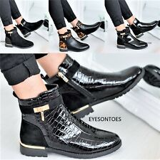 LADIES WOMENS FASHION FLAT CHELSEA DEALER ANKLE PATENT CROC ZIP SHOES BOOTS SIZE