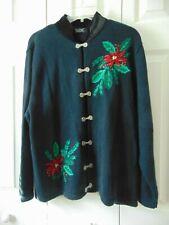 Crystal Kobe Christmas Sweater Clasps Ugly BEADED Poinsettia Black Size XL