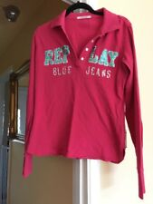 Replay Jeans Sequinned Long Sleeve Polo Shirt L Worn Once Pink