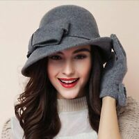 Fashions Autumn Winter Pure Wool Fedoras Hats For Women With Large Ribbon Design