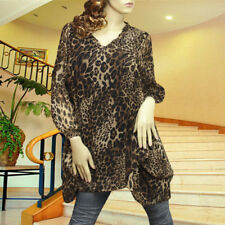 BROWN/BLACK CHIFFON LEOPARD ADJUSTABLE SLEEVE PUFF TUNIC TOP #3077 SIZE L