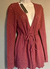 NWT FENN WRIGHT MANSON UK Designer Cardigan Sz M Tie Front Sweater Crochet Knit